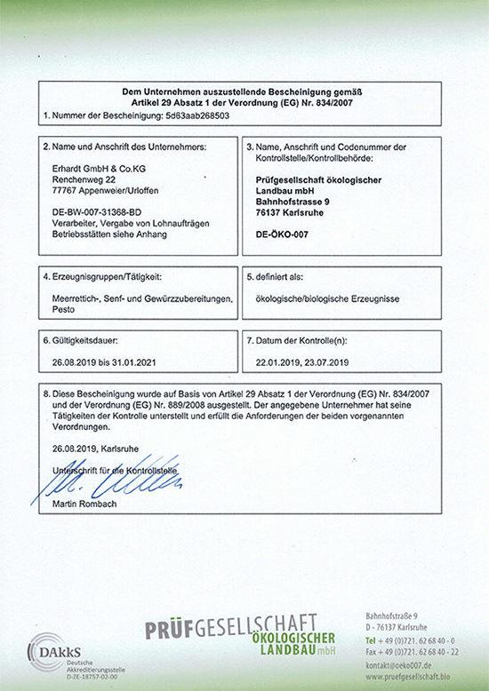 Bio Zertifikat Erhardt GmbH+Co KG 2019