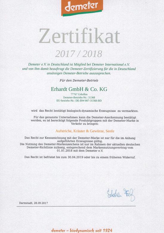 Erhardt Naturkost - Demeter Zertifikat