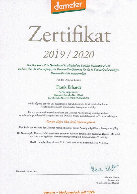 Erhardt Naturkost - Demeter Urkunde 2018 Frank Erhardt Landwirtschaft