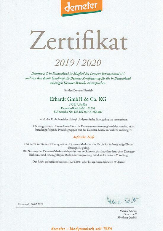 Erhardt Naturkost GmbH Urloffen - Demeter Zertifikat